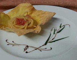 Spaghetto quadrato con uova di spigola locale