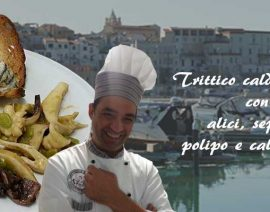 Trittico caldo di mare con alici, seppia, polipo e calamaretti